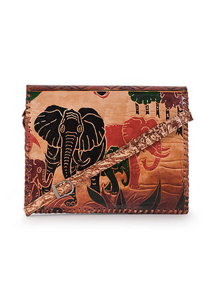Multicolored Handcrafted Printed Genuine Leather Sling Bag