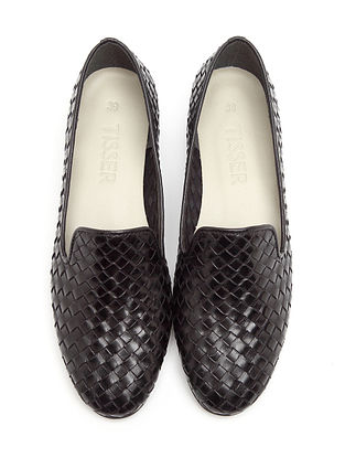 Black Handwoven Genuine Leather Shoes
