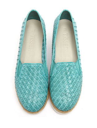 Turquoise Handwoven Genuine Leather Shoes