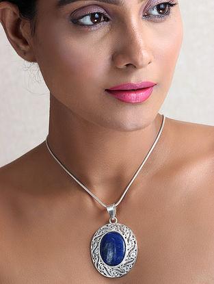 Blue Filigree Silver Pendant