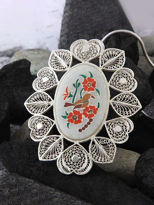 Multicolored Filigree Silver Pendant With Marble Inlay