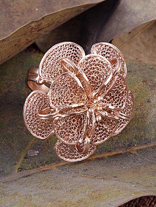 Rose Gold Tone Filigree Silver Adjustable Ring