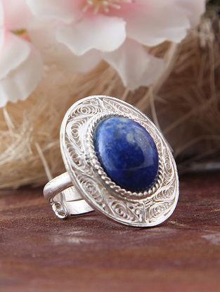Blue Filigree Silver Adjustable Ring