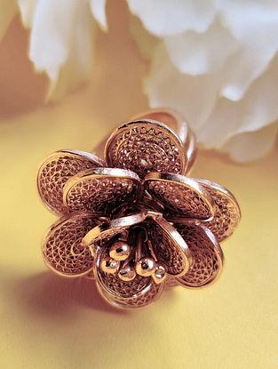 Rose Gold Filigree Silver Adjustable Ring