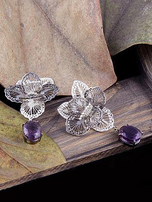 Purple Filigree  Silver Earrings