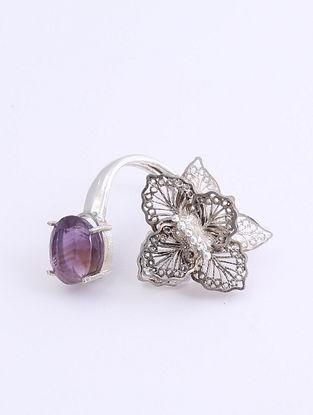 Purple Filigree Adjustable Silver Ring
