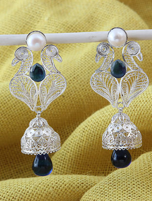 Blue Filigree Silver Earrings With Pearls