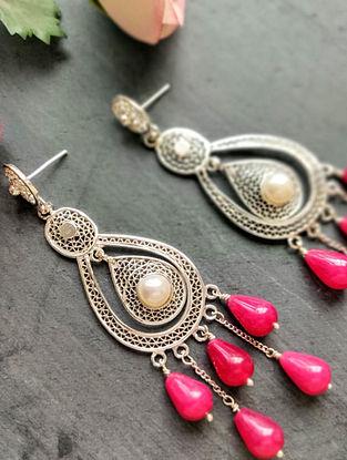 Red Filigree Silver Earrings