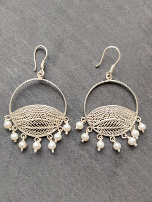 Filigree Silver Earrings With Pearls