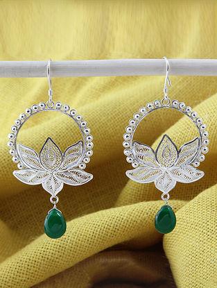 Green Onyx Filigree Silver Earrings