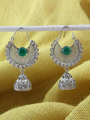 Green Filigree Silver Earrings