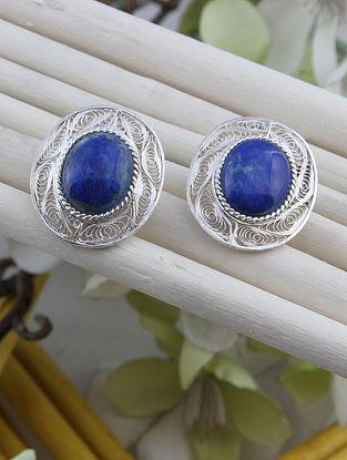 Blue Filigree Silver Earrings