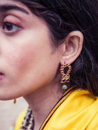 Maroon Gold Plated Silver Earrings with Stones