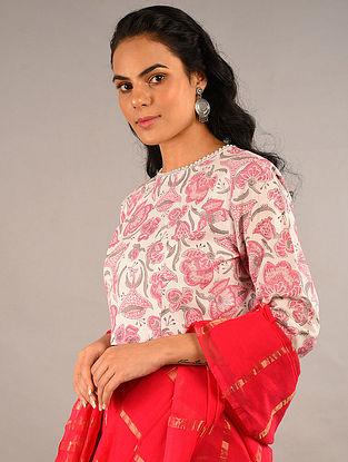 Pink Block Printed Cotton Blouse