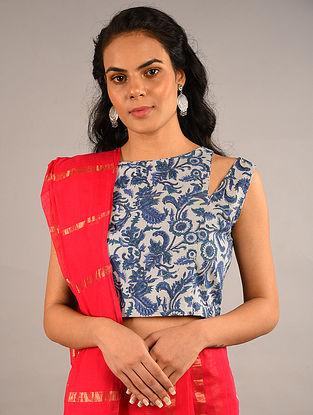 Blue Block Printed Cotton Blouse