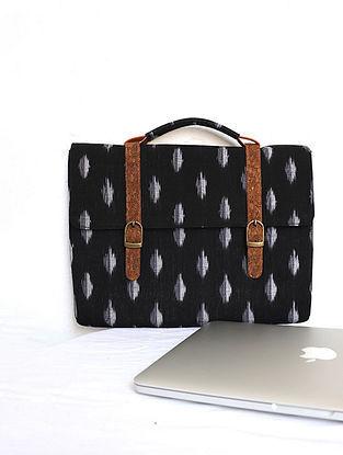 Black Handcrafted Ikat Cork Leather Laptop Bag