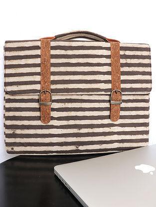 Brown Handcrafted Dabu Printed Cork Leather Laptop Bag