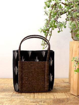 Black Handcrafted Ikat Cork Leather Hand Bag