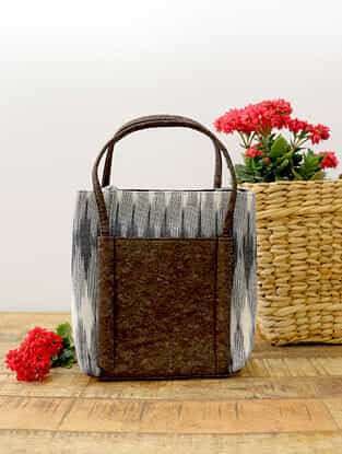 Grey Handcrafted Ikat Cork Leather Hand Bag