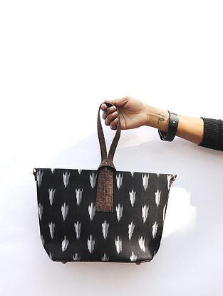 Black Handcrafted Ikat Cork Leather Sling Bag