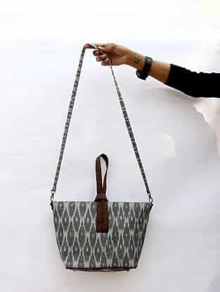Grey Handcrafted Ikat Cork Leather Sling Bag