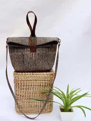 Brown Handcrafted Dabu Printed Cork Leather Sling Bag