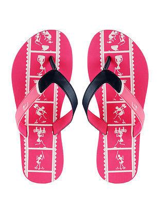 Pink Warli Printed Rubber Flip Flops