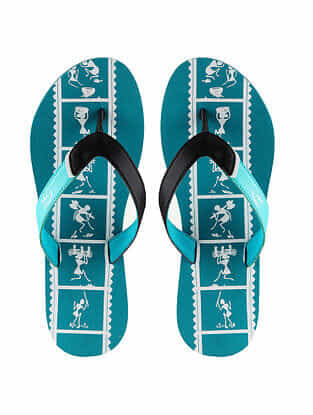 Blue Warli Printed Rubber Flip Flops