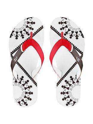 White Warli Printed Rubber Flip Flops