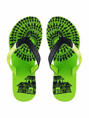 Green Warli Printed Rubber Flip Flops