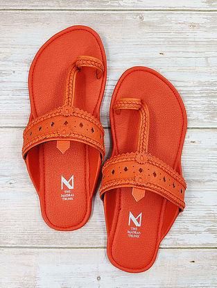 Orange Handcrafted Leather Kolhapuri Flats