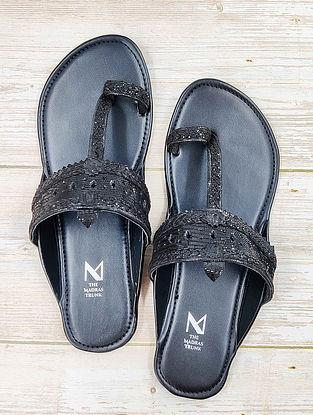 Black Handcrafted Leather Kolhapuri Flats