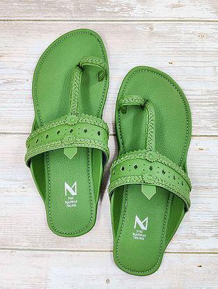Green Handcrafted Leather Kolhapuri Flats