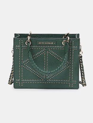 Emerald Green Handcrafted Leather Hand Bag