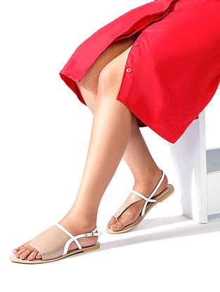 Nude White Handcrafted Genuine Leather Sandals