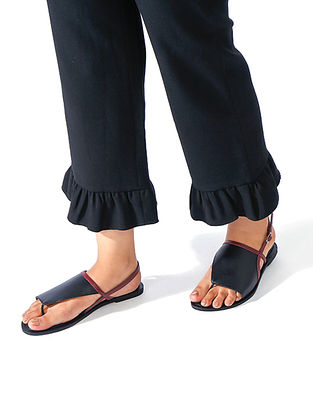 Black Maroon Handcrafted Genuine Leather Sandals