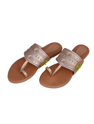 Gold Green Handcrafted Faux Leather Kolhapuri Flats