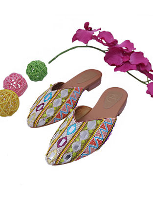 Multicolored Handcrafted Faux Leather Mules