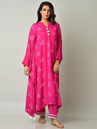 Fuschia Pink Crepe Viscose Bandhani Kaftan with Cotton Pants