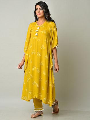 Mustard Yellow Crepe Viscose Bandhani Kaftan with Cotton Pants