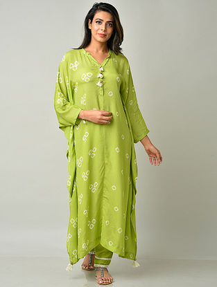 Lime Green Crepe Viscose Bandhani Kaftan with Cotton Pants