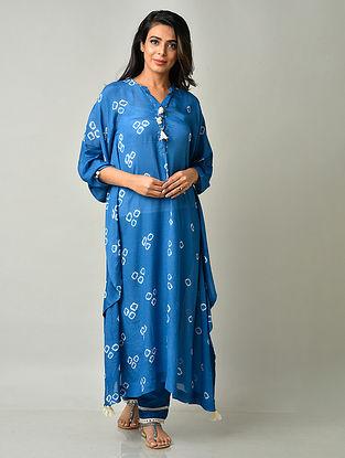 Blue Crepe Viscose Bandhani Kaftan with Cotton Pants