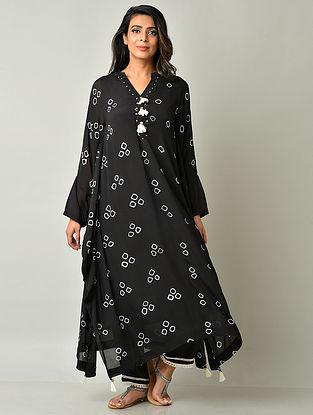 Black White Crepe Viscose Bandhani Kaftan with Cotton Pants