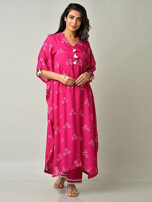 Fuschia Pink Crepe Viscose Bandhani Kaftan Kurta with Cotton Pants