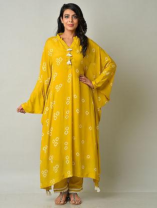 Mustard Yellow Crepe Viscose Bandhani Kaftan Kurta with Cotton Pants
