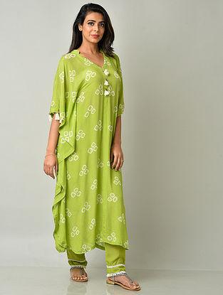 Lime Green Crepe Viscose Bandhani Kaftan Kurta with Cotton Pants