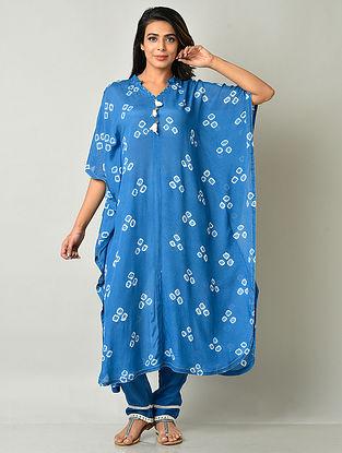 Blue Crepe Viscose Bandhani Kaftan Kurta with Cotton Pants
