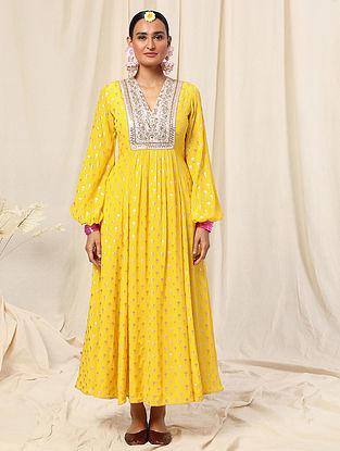 Lemon Yellow Crepe Foil Printed Dress
