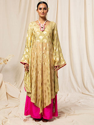 Beige and Pink Crepe Foil Printed Kurta with Silk Palazzos