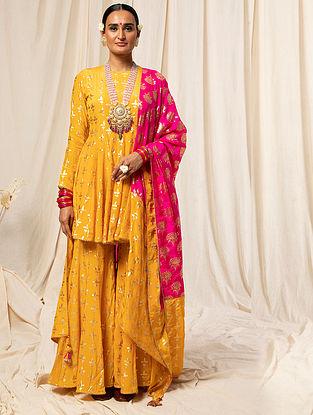 Yellow and Pink Crepe Foil Printed Anarkali Kurta with Sharara and Dupatta